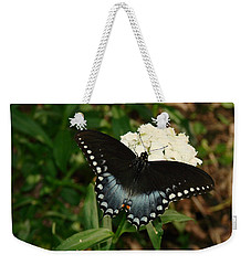 White Flowered Butterfly Weekender Tote Bag