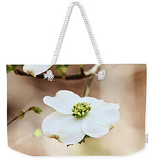 Weekender Tote Bag featuring the photograph White Flowering Dogwood Tree Blossom by Stephanie Frey