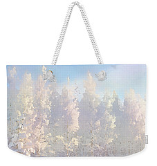 Weekender Tote Bag featuring the digital art White Forest Morning by Shelli Fitzpatrick