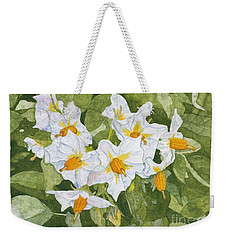 White Garden Blossoms Watercolor On Masa Paper Weekender Tote Bag