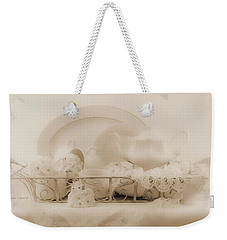 White Geraniums Still Life Weekender Tote Bag by Sandra Foster