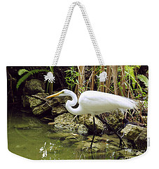 White Heron Weekender Tote Bag by Cindy Lee Longhini