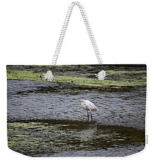 Weekender Tote Bag featuring the photograph White Heron On The Hudson by Jeff Severson