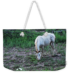 White Horse And A White Flower Weekender Tote Bag by Natalie Ortiz
