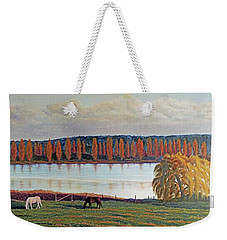 Weekender Tote Bag featuring the painting White Horse Black Horse by Laurie Stewart