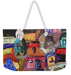 Weekender Tote Bag featuring the painting White Horse In The Village Field by Mary Carol Williams