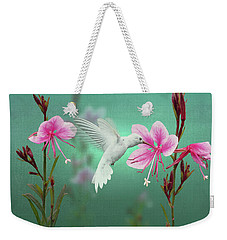 White Hummingbird And Pink Guara Weekender Tote Bag