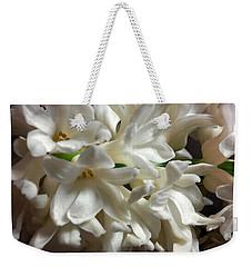 White Hyacinth Weekender Tote Bag by Jasna Dragun