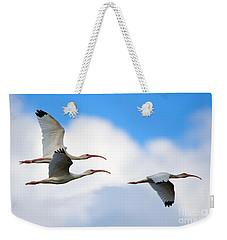 White Ibis Flock Weekender Tote Bag by Mike Dawson