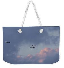 White Ibis In Flight At Sunset Weekender Tote Bag
