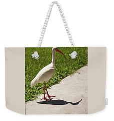 White Ibis Walking Down The Street Weekender Tote Bag