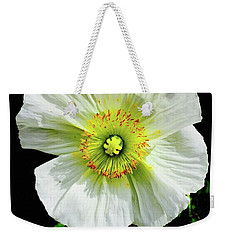 White Iceland Poppy Weekender Tote Bag by Russell Keating