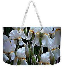 White Iris Garden Weekender Tote Bag by Sherry Hallemeier