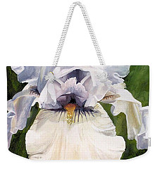 Weekender Tote Bag featuring the painting White Iris by Laurie Rohner