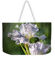White Iris On Abstract Background #g4 Weekender Tote Bag