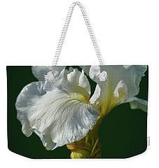 White Iris On Dark Green #g0 Weekender Tote Bag by Leif Sohlman