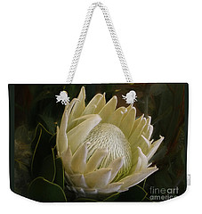 Weekender Tote Bag featuring the photograph White King Protea By Kaye Menner by Kaye Menner
