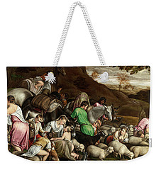 Weekender Tote Bag featuring the photograph White Lambs by Munir Alawi