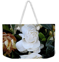 White Large Gardenia Weekender Tote Bag by Suhas Tavkar
