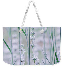 Weekender Tote Bag featuring the photograph White Lavender  by Andrea Anderegg