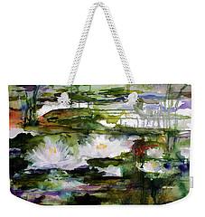 White Lilies On Black Water Wetland Weekender Tote Bag