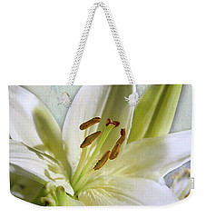 White Lilies On Blue Weekender Tote Bag