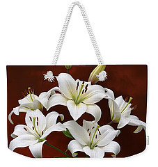 White Lilies On Red Weekender Tote Bag by Jane McIlroy