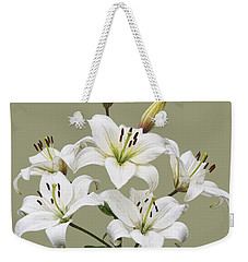 White Lilies Illustration Weekender Tote Bag by Jane McIlroy