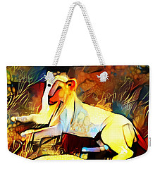 Weekender Tote Bag featuring the photograph White Lioness by Pennie  McCracken