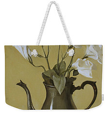 White Lisianthus In Silver Coffeepot Weekender Tote Bag