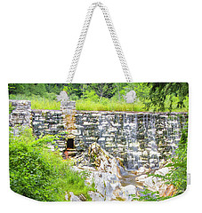 Weekender Tote Bag featuring the photograph White Marble Mill Dam by Betty Denise