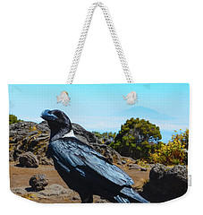 Weekender Tote Bag featuring the photograph White-necked Raven Overlooking Mount Meru by Jeff at JSJ Photography