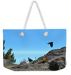 Weekender Tote Bag featuring the photograph White-necked Raven Pair On Kilimanjaro by Jeff at JSJ Photography