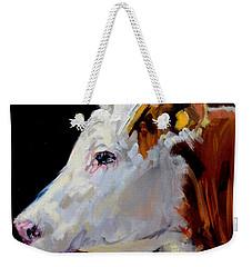 White On Brown Cow Weekender Tote Bag