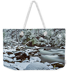 White On Green Weekender Tote Bag by Mark Lucey