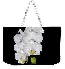 White Orchids On Black Weekender Tote Bag