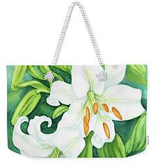 White Oriental Lilies Weekender Tote Bag