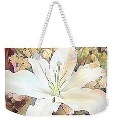 White Painted Lily Weekender Tote Bag