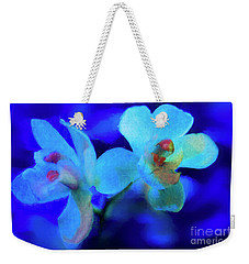 Weekender Tote Bag featuring the digital art White Painted Orchids by Darleen Stry
