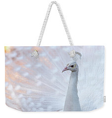 Weekender Tote Bag featuring the photograph White Peacock by Sebastian Musial