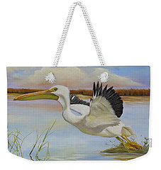 White Pelican In The Louisiana Marsh Weekender Tote Bag by Phyllis Beiser