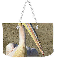 Weekender Tote Bag featuring the photograph White Pelican by Sally Weigand