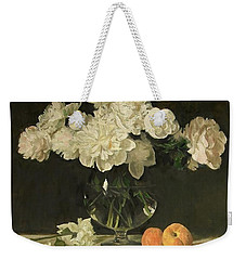 White Peonies In Giant Snifter With Peaches Weekender Tote Bag