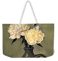 White Peonies In Small Green Pitcher Weekender Tote Bag