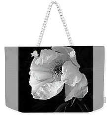 White Peony After The Rain In Black And White Weekender Tote Bag by Gill Billington