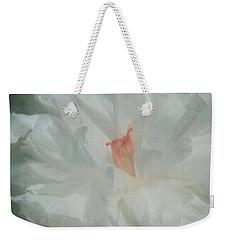Weekender Tote Bag featuring the photograph White Peony by Benanne Stiens