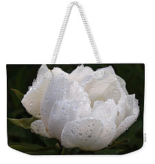 White Peony Covered In Raindrops Weekender Tote Bag by Gill Billington
