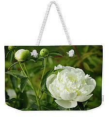 Weekender Tote Bag featuring the photograph White Peony by Cristina Stefan
