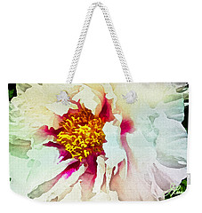 Weekender Tote Bag featuring the painting White Peony by Joan Reese