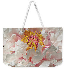 Weekender Tote Bag featuring the photograph White Peony by Sandy Keeton